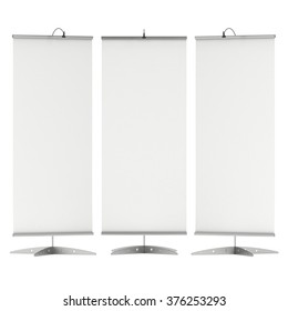Blank Roll Up Expo Banner Stand. Trade show booth white and blank. 3d render illustration isolated on white background. Template mockup for your expo design.