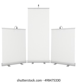 Blank Roll Up Expo Banner Stand Group. Trade show booth white and blank. 3d render illustration isolated on white background. Template mockup for your expo design.