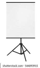 Blank Roll Up Expo Banner Stand on Tripod isolated on white background.