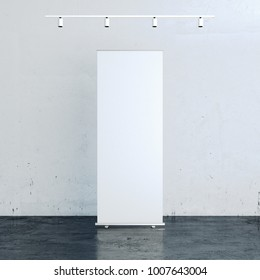 Blank rollup banner in front of white wall. 3d rendering
