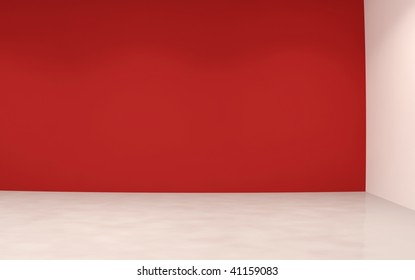 Blank Room and  red Wall