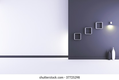 Blank Room and Wall - white and black wall with lamp