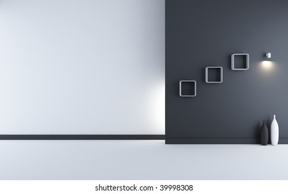 Blank Room and Wall - white and black wall