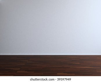 Blank Room and Wall - Blank white wall with parquet