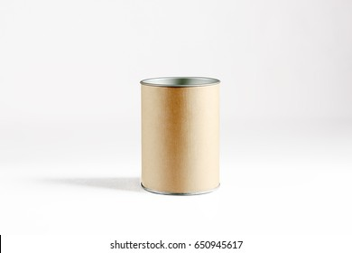 Blank round jar made of textured cardboard on a light background