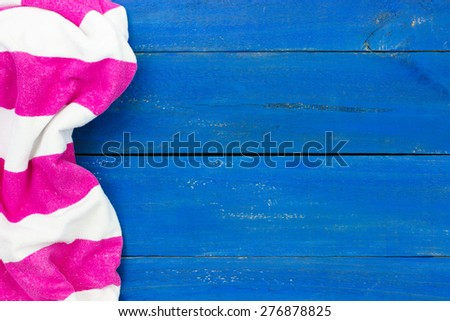 blank white beach towel. Blank Rustic Blue Wooden Beach Sign With Pink And White Striped Towel  Border; Royal Blank