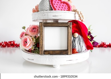 Blank rustic square wood sign on tier tray with decor, farmhouse style valentine's day mockup - Shutterstock ID 1899310534