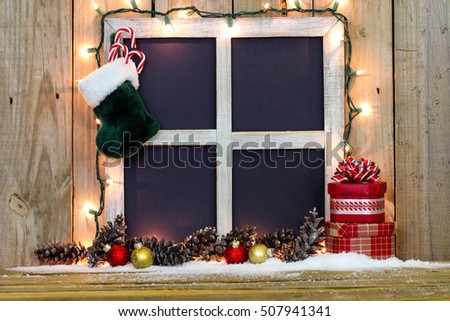 Blank Rustic Window Frame Holiday Lights Stock Photo Edit Now