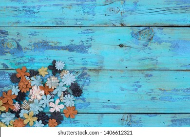 Blank rustic wooden teal blue sign with colorful floral border