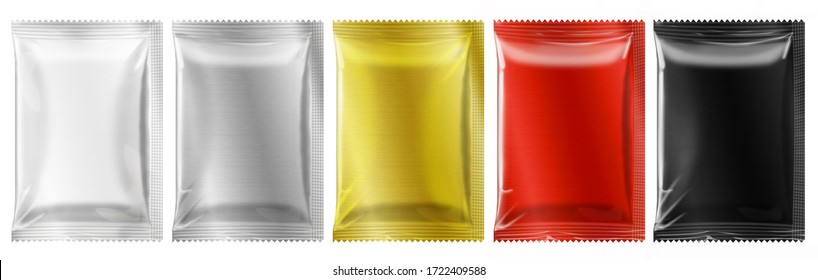 Blank sachet packaging mockup template on white background.