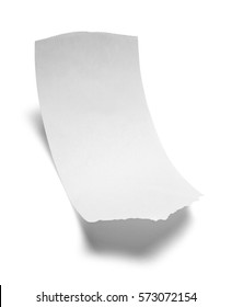 Blank Sales Receipt Paper Isolated on White Background.