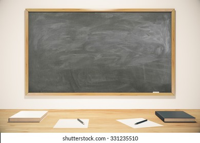 Blank school blackboard with books, exercise books and pens, mock up 3D Render
