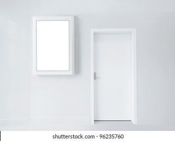 Blank screen and door