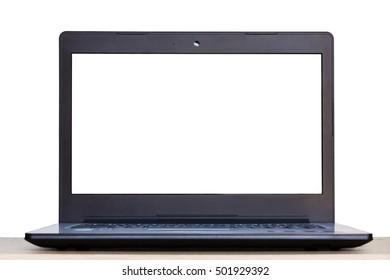 blank screen laptop on desk