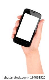 blank screen mobile phone in female hand isolated on a white background