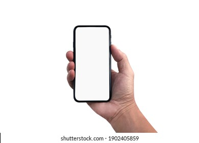 Blank screen of Mobile phone with hand holding phone isolated on white background. of free space for your copy, Clipping path.
