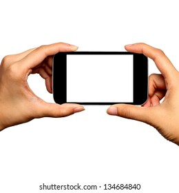 Blank screen mobile phone in Two hands