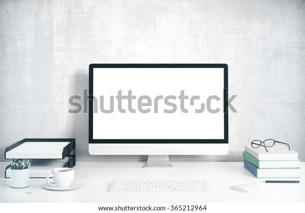 Blank Screen On Desktop Computer Books Stock Photo (Edit Now) 365212964