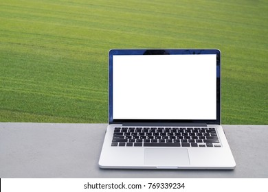 Blank screen on laptop with green grass texture background, free copy space on notebook screen for text on natural texture background. view from front laptop screen.