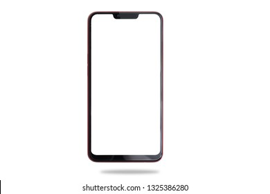 Blank screen on smartphone, cellphone, mobile, tablet on isolated white background. cut out.