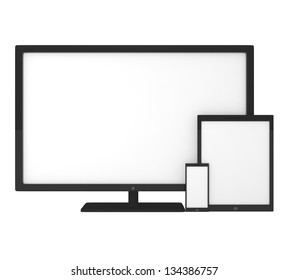 Blank screens on smartphone, tablet pc and monitor - 3d illustration