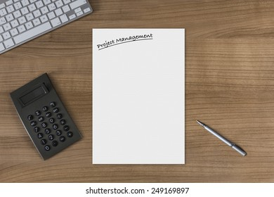 blank sheet headline project management on stock photo edit now