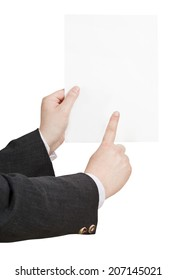 blank sheet of paper in businessman hand isolated on white background