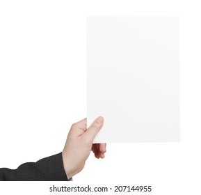 blank sheet of paper in male hand isolated on white background