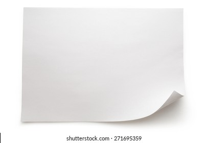 Blank sheet of paper on white background