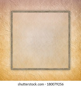 Blank sheet in picture frame on crumpled paper background