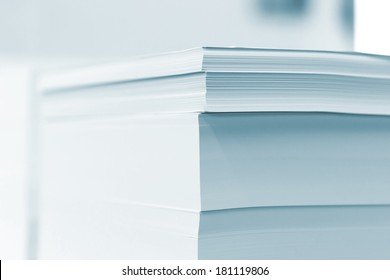 blank sheets of paper in the printer's warehouse