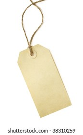 Blank shipping tag, tied with brown string, isolated on white.