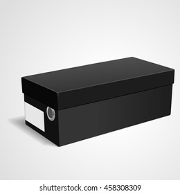 blank shoes box with label isolated on white background. 3D illustration.