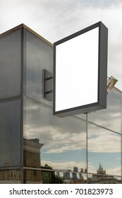 Blank shop sign. Vertical signage. 3d illustration