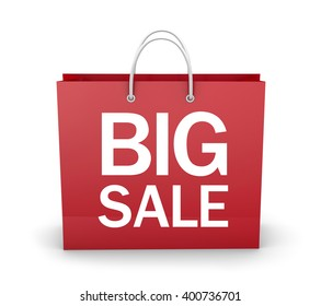 Blank shopping red bags for sale 3d rendering