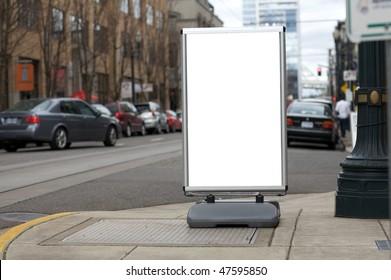 Blank sidewalk advertisement sign