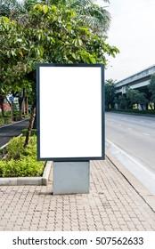 Blank sidewalk or street billboard for outdoor advertisement