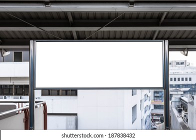 blank sign board in sky train station
