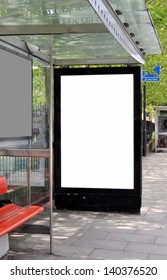 Blank sign at bus stop for your advertisement or design.