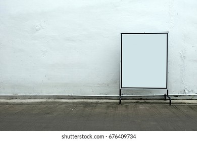 Blank Sign in Concrete Room Background.