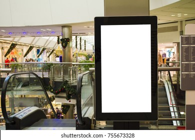 blank sign with copy space for your text message or mock up content in modern shopping mall