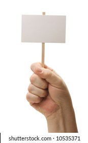 Blank Sign In Fist Isolated on A White Background.