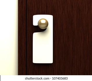 blank sign on the door handle- 3d illustration