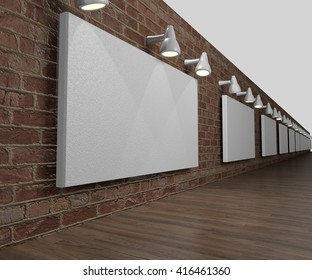 blank sign space hung on a brick wall in a simple 3D Illustration