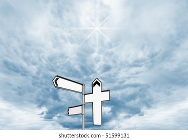 Blank signpost with Cross pointing heavenwards