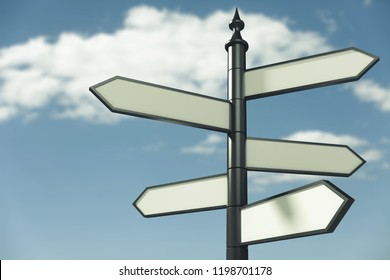 Blank signpost on sky background