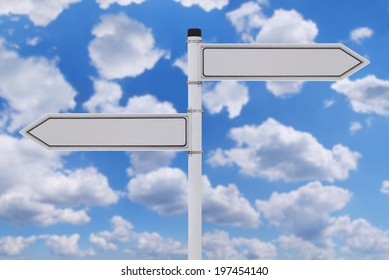 Blank signpost over blue sky with clouds