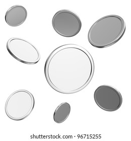 blank silver coins on white background
