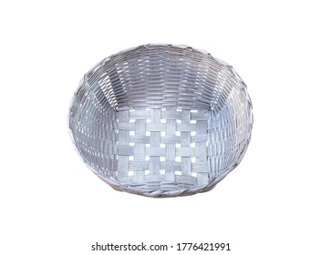 Blank silver or gray  woven bamboo basket craft patterns isolated on white background  clipping path
