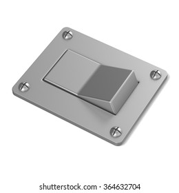Blank, silver, power switch button. Angled view. 3D render illustration isolated on white background